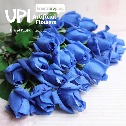 Free Shipping 12pcs/Lot Artificial Flowers Real Touch Blue Rose Decorative Flowers Bouquet For Wedding Home Party Decorations(China (Mainland))