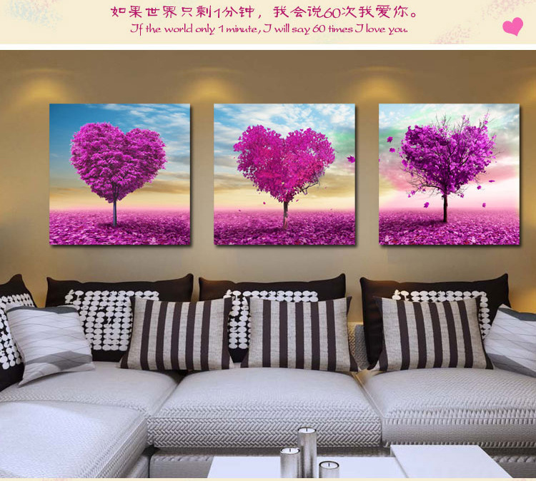 Tree of Hearts High definition computer printed modular painting flower wall painting canvas painting 3 pieces per set(China (Mainland))