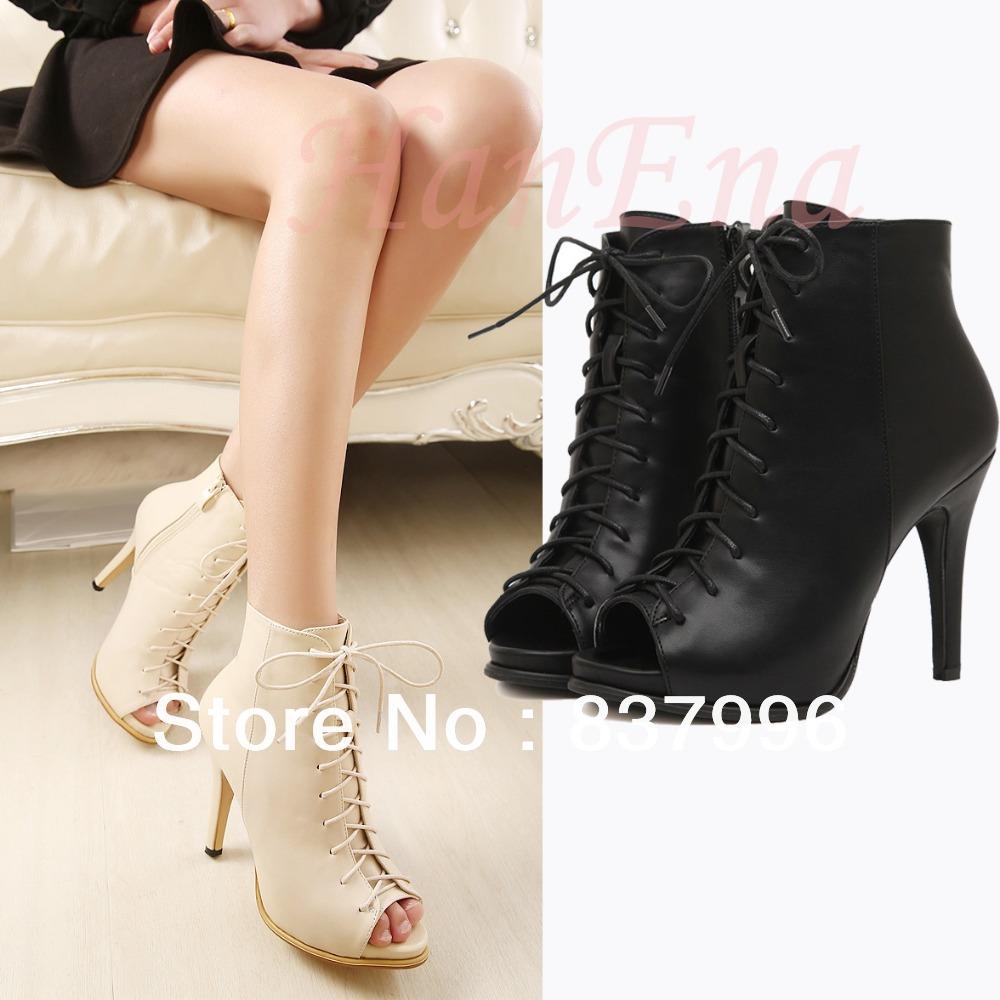 New Fashion Womens Peep-toe Shoes Stiletto Pumps Lace-up High Heels Vogue Lady Party US4-8 BLACK BEIGE 0
