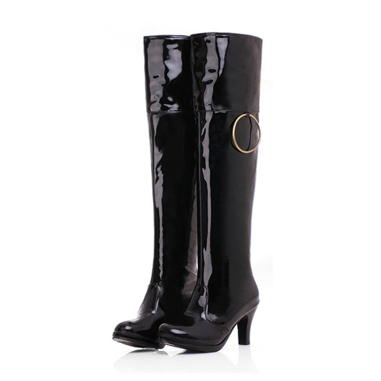 boots Patent Leather long Women Large size small yards 32 33 37 38 39 40 41