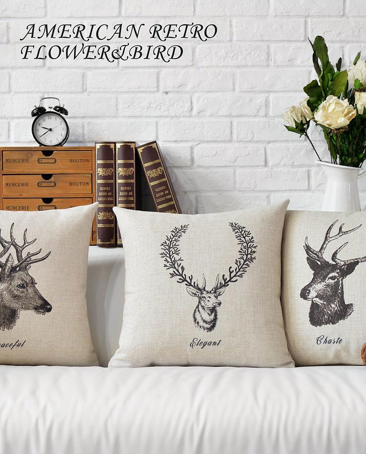 "Nordic Stag Deer Elk Head Cushion Cover Linen Scandinavian Throw Pillow Case Animal Home Sofa Decor Car Seat Cushions Covers 18""(China (Mainland))"