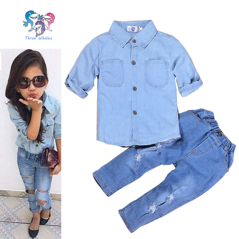 2016 Hot Sale Summer Children Girls Fashion Clothes Set Kids Boutique Outfits Toddler Girl Jeans Children's Suits(China (Mainland))