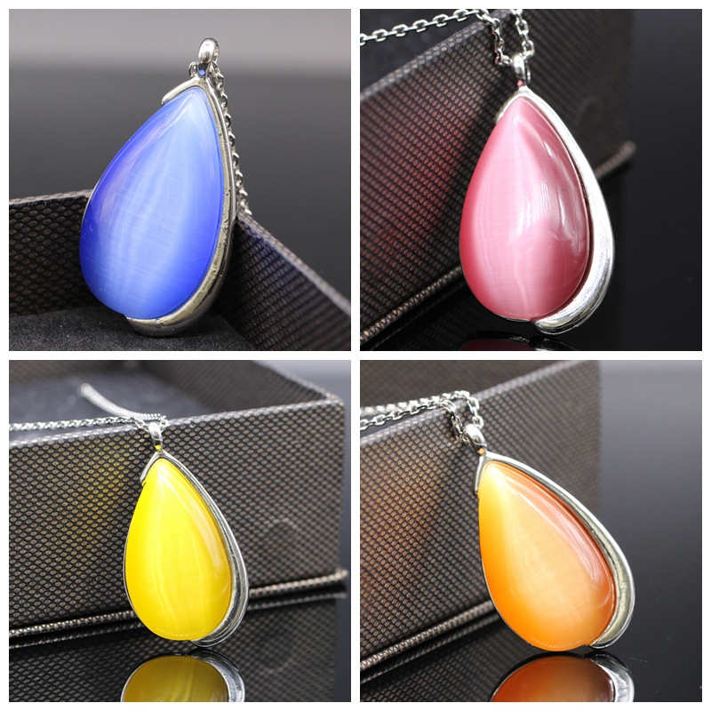 Water Drop Blue/Red/Orange/Yellow Crystal White Gold Plated Pendant Necklace High-end Jewelry Women's Birtyday Gifts(China (Mainland))