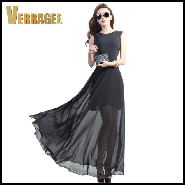 2015 New Spring Summer Womens Perspective Maxi Dress Black Brief Floor Length Plus Size Long Chiffon S-XXL - Boutique cottages store