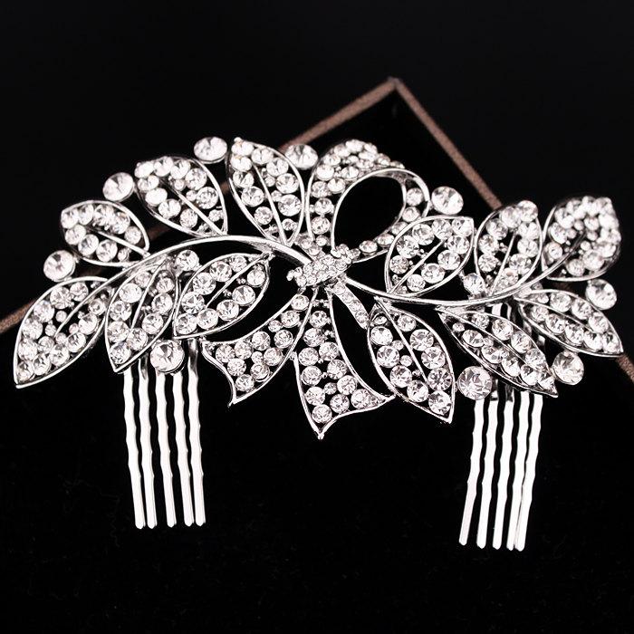 2016 Elegant Wedding Bridal Hair Accessories Jewelry Luxury Crystal Rhinestone Leaf Comb Bridal Party Hair Comb Hairpin F1606(China (Mainland))