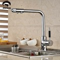 Chrome Brass Kitchen Faucet Pure Water Deck Mounted Sink Mixer Tap Hot and Cold Water