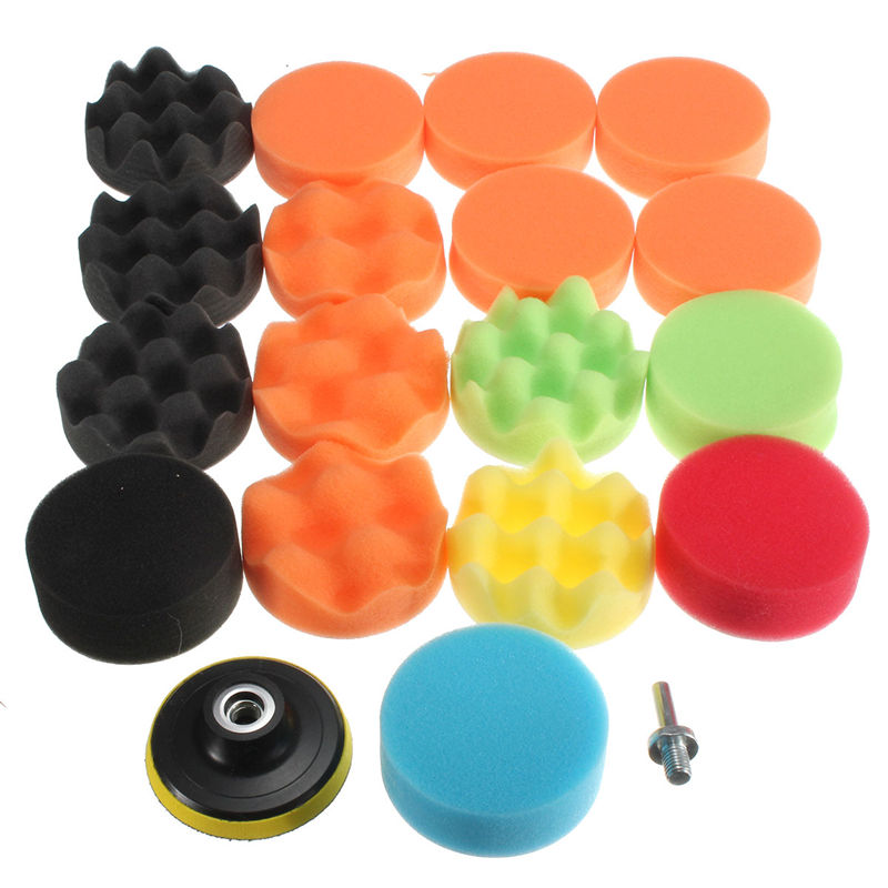 Lowest Price 19Pcs 80mm High Gross Polishing For Buff Pad Kit For Car Polisher+Drill Adapter-M10 Polishing Pads 3inch(China (Mainland))