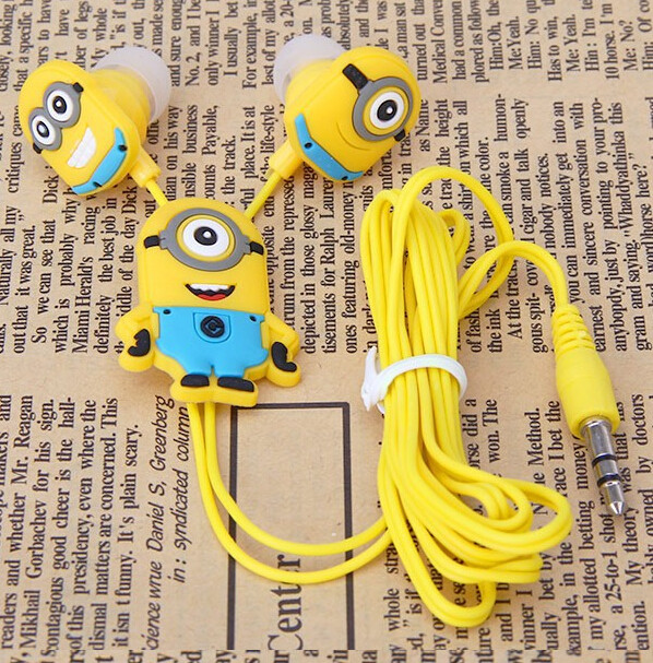 Despicable Me Minions Cartoon Earphone In-ear Wired 3.5 mm earbuds for MP3 MP4 Mobile Phone fones Earplug auriculares(China (Mainland))