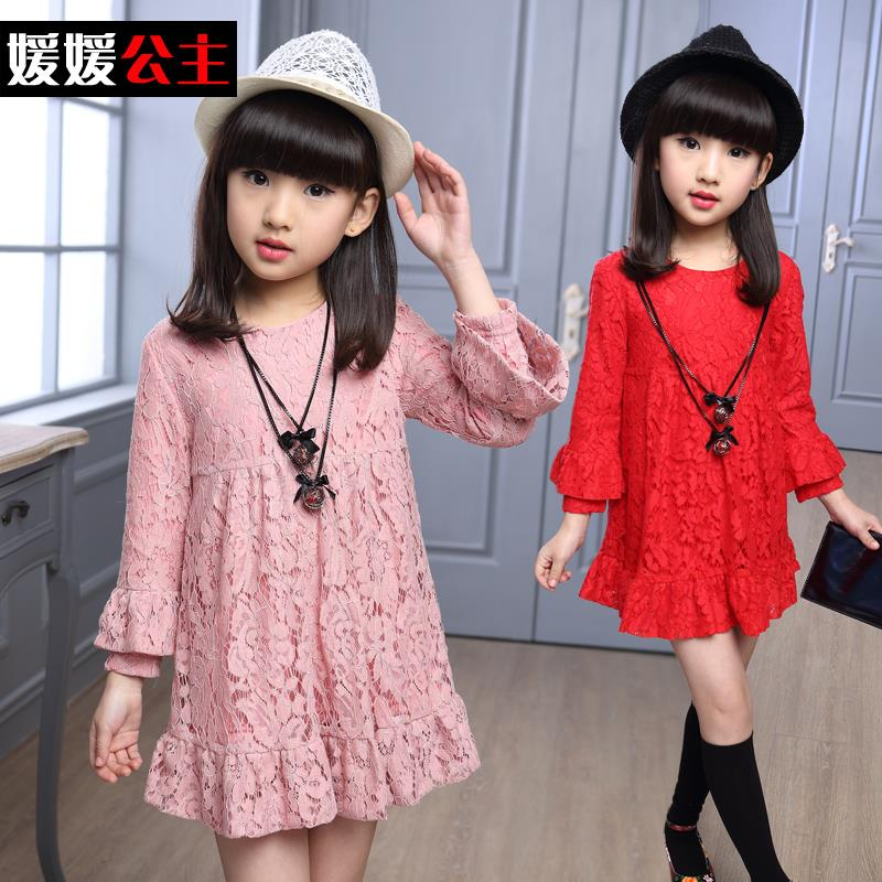 2016 Autumn Girl Dresses Children Clothing Long-sleeved Princess Dress Baby Girls Clothes Sweet Lace Kids Age 3-15T - A M store