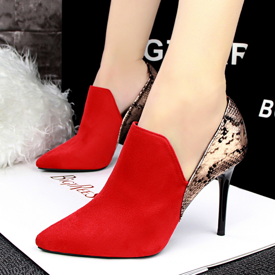 Fashion Wedding Shoes Pumps Women Patchwork Snake Skin Pointed Toe High Heels Shoes Zapatos Mujer Chaussure Femme Red Black Grey<br><br>Aliexpress