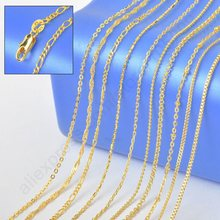 """10PCS Sample 18"""" Mix 10 Kinds 18K Solid Yellow Gold Filled Venice Figaro Rolo Curb GF Necklace Chains 18K-GF Stamped 1.2-2MM(China (Mainland))"""