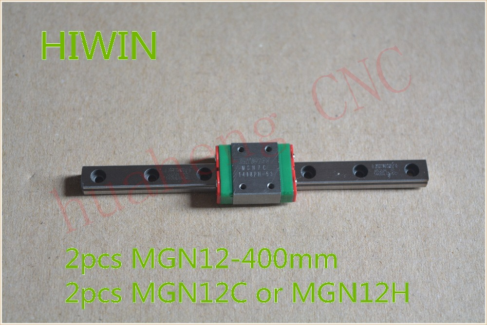 HIWIN MR12 12 mm linear guide rail stainless steel rail 2pcs MGN12 L 400 mm with 2pcs MGN12C or MGN12H linear block cnc part(China (Mainland))