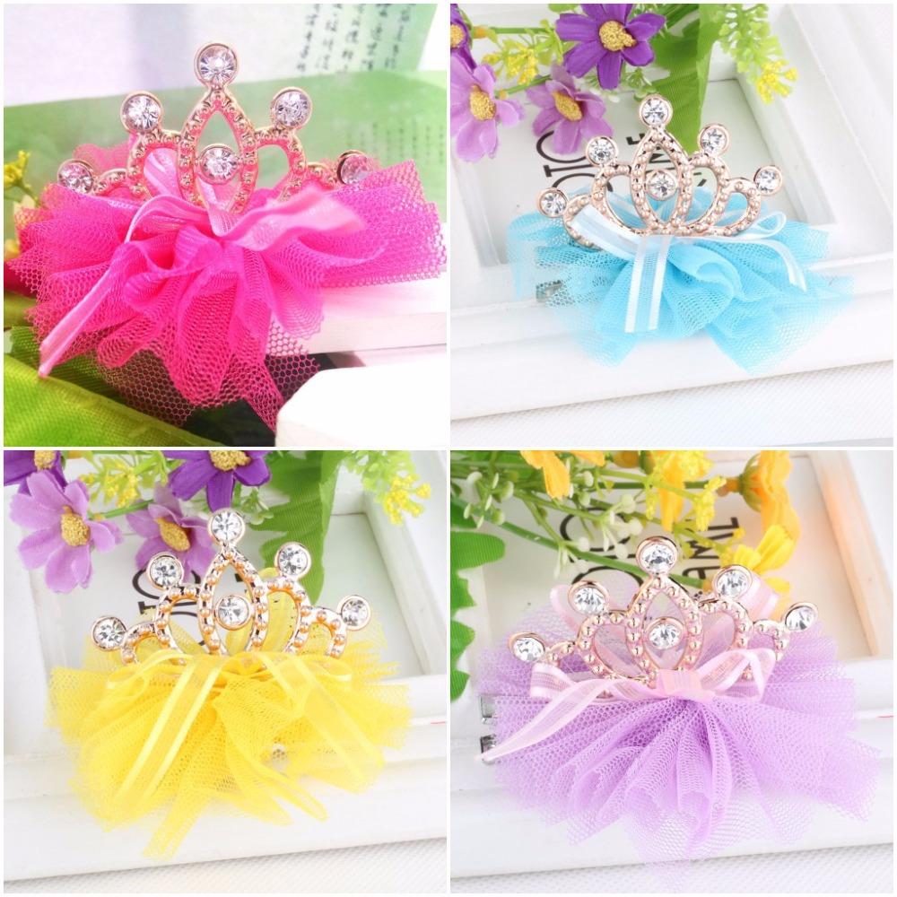 New Design Shiny Rhinestone Crown Hair Clip Girls Hair Accessories Grid Yarn Crown Children Accessories Ribbon Baby Hair Clip(China (Mainland))