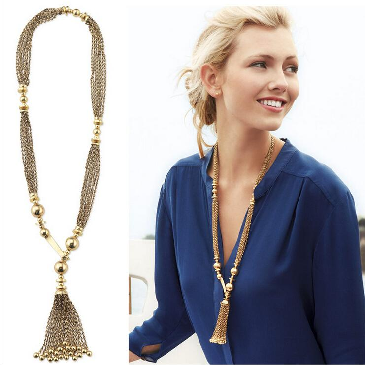 New Womens Simple Statement Tassel Y Shape Pendant Fashion Collar Bib Necklace Chain Jewelry Gift Party(China (Mainland))