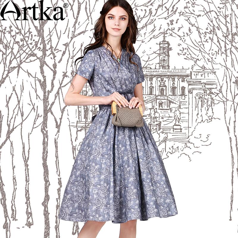 Artka Women's Retro Dress Bowtie Decorate Elegant Lady Vintage Dresses 2015 NEW V-Neck Design Wide Hem Dress LA10555X(China (Mainland))