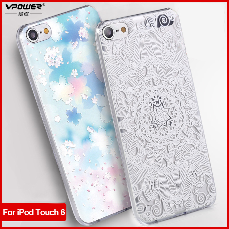 Vpower for apple ipod touch 6 3D Relief Print Back Flip Cover Phone Bag for ipod touch6 Phone Cover Case+Screen Film(China (Mainland))