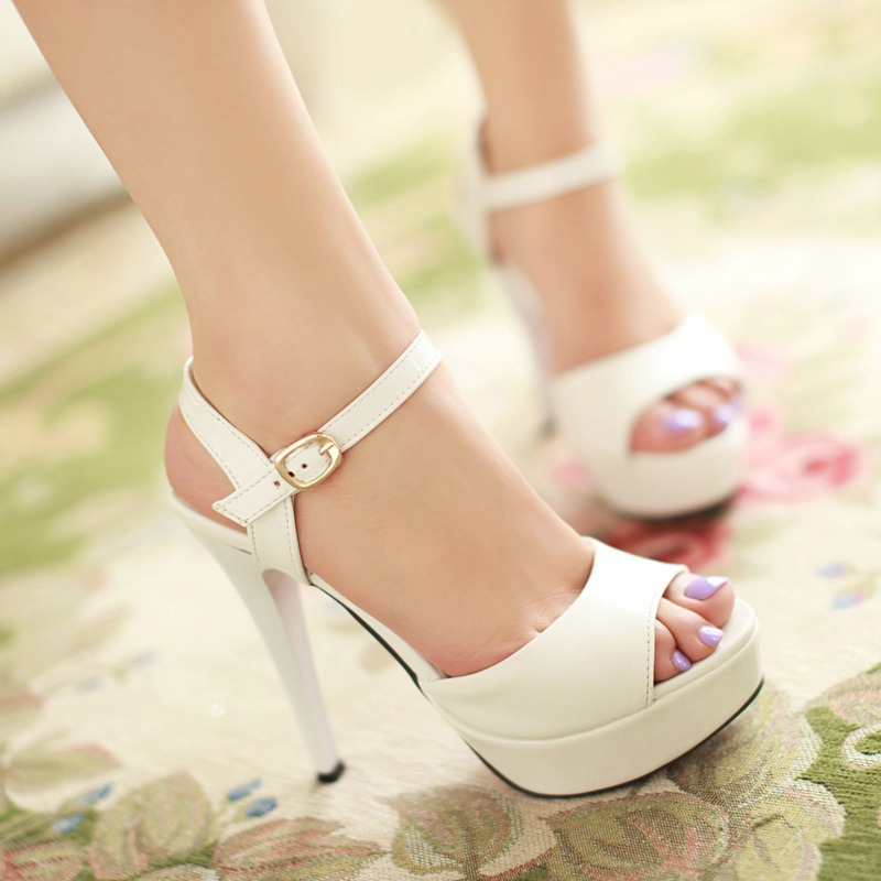 Sandals female summer sexy high-heeled thin heels white open toe shoe women's platform shoes