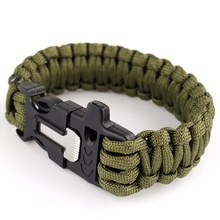 Outdoor Camping Men Self-Rescue Paracord Parachute Cord Emergency Survival Bracelet Rope Kit Buckle Whistle with Flint Scraper
