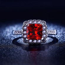 White gold filled Wedding Rings For Women Ruby Red CZ Diamond fashion Silver Jewelry Cubic Zircon Classic anel anillo