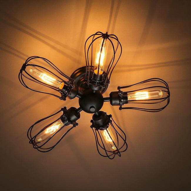 Fan Industrial Ceiling Lights 5 Light Retro American Style