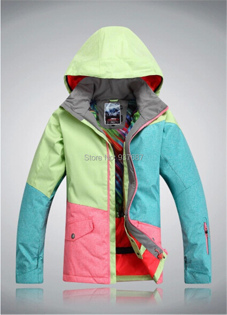 2016 Brand New Women Ski Jacket Camping Thermal Clothes Polyester Snow Board Jacket Outdoot Sport Ski Suits Female(China (Mainland))