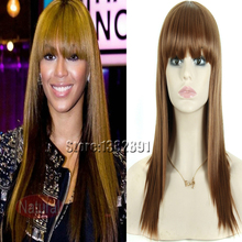 Medium Light Brown Celebrity Beyonce Wig With Full Bangs Natural Straight Synthetic None Lace Wig For Black Women Heat Resistant