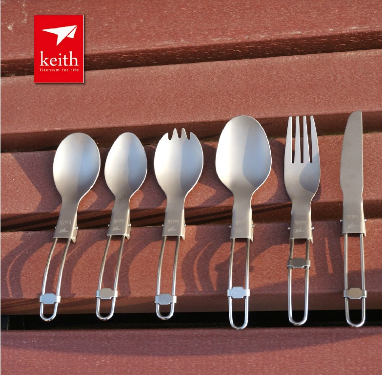 Buy Outdoor pure titanium fork spoon dual purpose folding lightweight titanium spoon camping tableware variety cheap