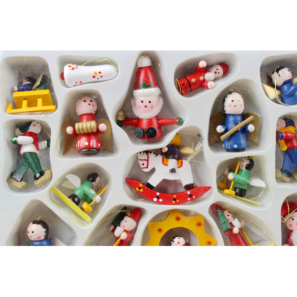 Small wooden christmas tree ornaments - 24pcs Set Hanging Wooden Color Painted Santa Folk Nutcracker Snowman Christmas Ornaments Decorations Christmas Tree