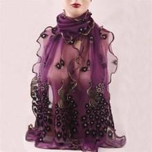 2016 замечательный сетки павлин длинный мягкий шарф черный фиолетовый размер 164 см шали обруча украл для стильных женщин / девочек бесплатная доставка