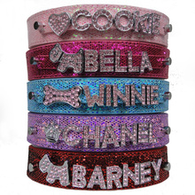 Free Shipping PU Leather Bling Personalized Dog Collar Customized Free Name Rhinestone Buckle Pink Letter XS S M L XL(China (Mainland))