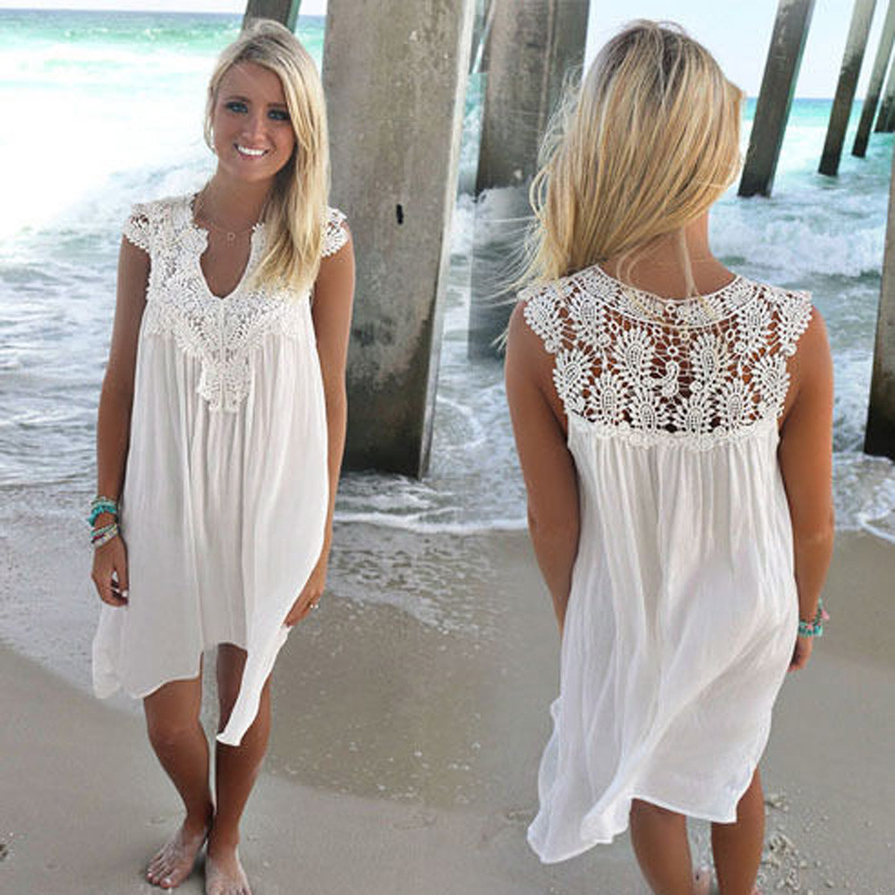 White Top BOHO Ladies Sleeveless Party Tops Womens Loose ...