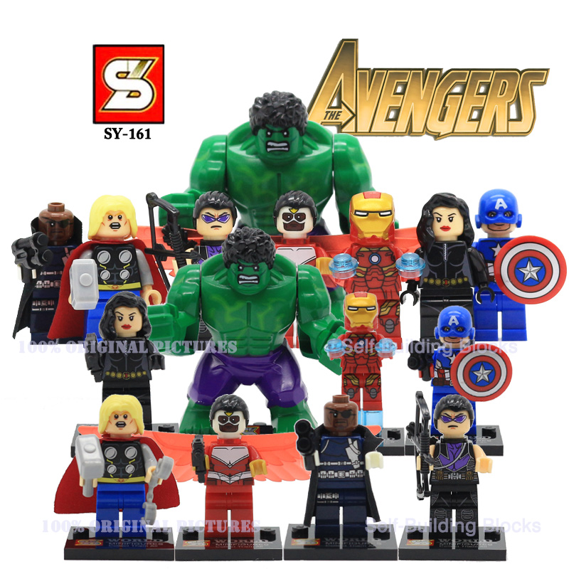 SY161 DC Marvel The Avengers Action Minifigures Self Building Block Thor Iran Man Hawkeye Hulk Minifiguers Bricks VS Decool<br><br>Aliexpress
