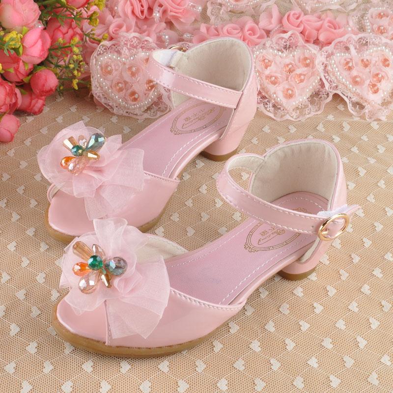 2016 children girls shoes princess shoes girls sandals kids high heels shoes toddler girl shoes pink, blue(China (Mainland))