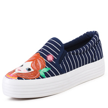 2016 spring and summer mouth thick crust hand-painted canvas shoes women shoes breathable lazy loafers flat shoes jordans shoes(China (Mainland))