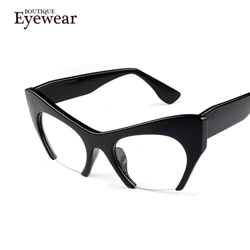 BOUTIQUE New Women Semi-Rimless Goggles Anti Fatigue Radiation resistant Cat Eye Glasses Frame Eyeglasses vintage