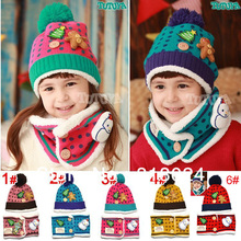 Free shipping 2013 Winter Lovely Dot Children knitted Scarf& hat set for 2~6 years kid boy Girlwinter scarf warmer hat 5 Colors(China (Mainland))