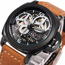 2016 New Black Men's Skeleton Watch Italy Antique Brown Genuine Leather Strap Automatic Skeleton Military Mechanical Wristwatch(China (Mainland))