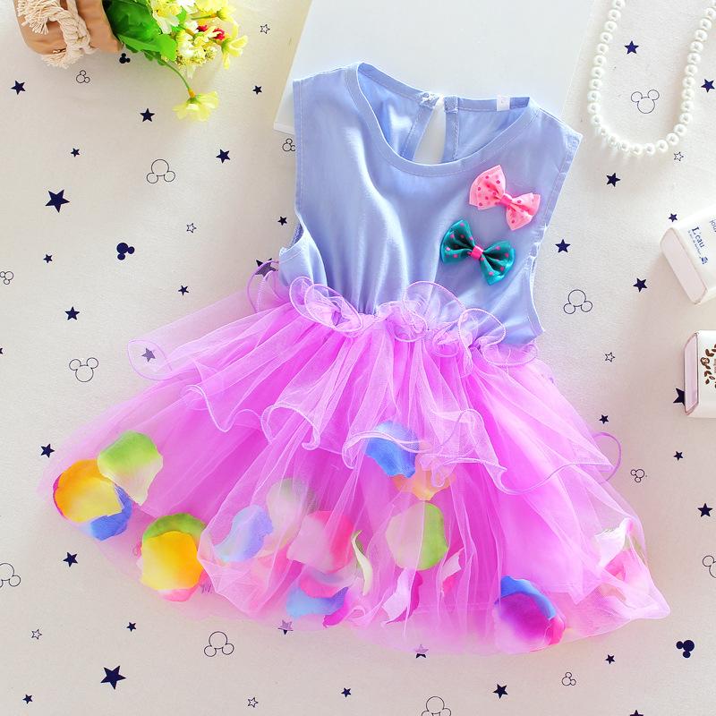 New Summer Fashion 2016 Baby Girl Lace Clothing Dress Children Colorful Floral Princess TuTu Dress kids Dresses girls Clothing(China (Mainland))