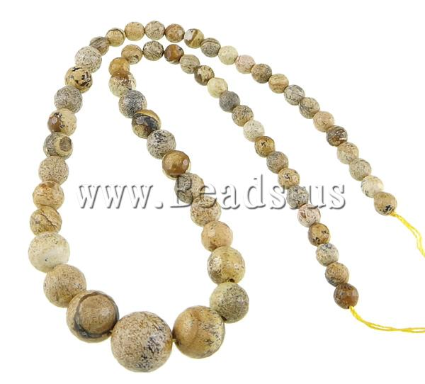 Free shipping!!!Picture Jasper Beads,One Direction, Round, imported, 6-14mm, Hole:Approx 0.8-1.5mm, Length:17.5 Inch