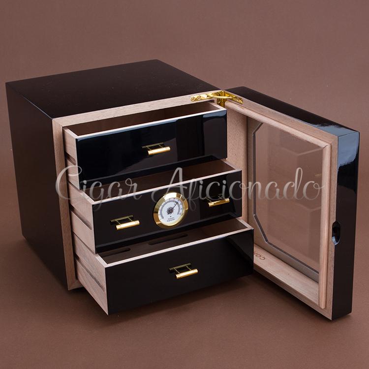 COHIBA Luxury Black High Glossy Piano Finish Cedar Wood Cigar Cabinet Humidor Storage Box W/ 3 Drawers Hygrometer Humidifier(China (Mainland))