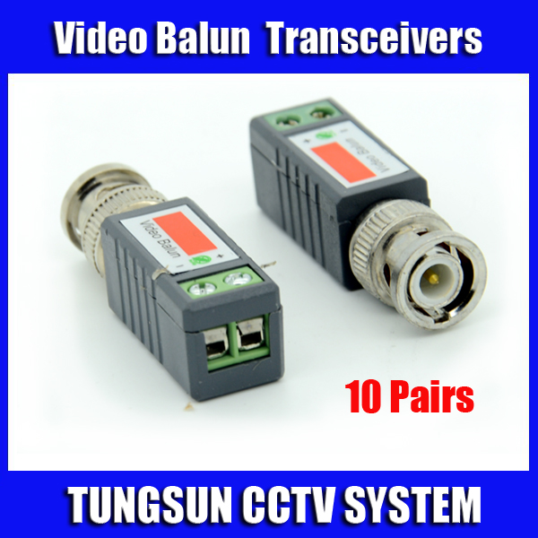 10Pairs CCTV Twisted BNC Passive Video Balun Transceiver Coax CAT5 Camera UTP Cable Coaxial Adapter for Camera DVR(China (Mainland))