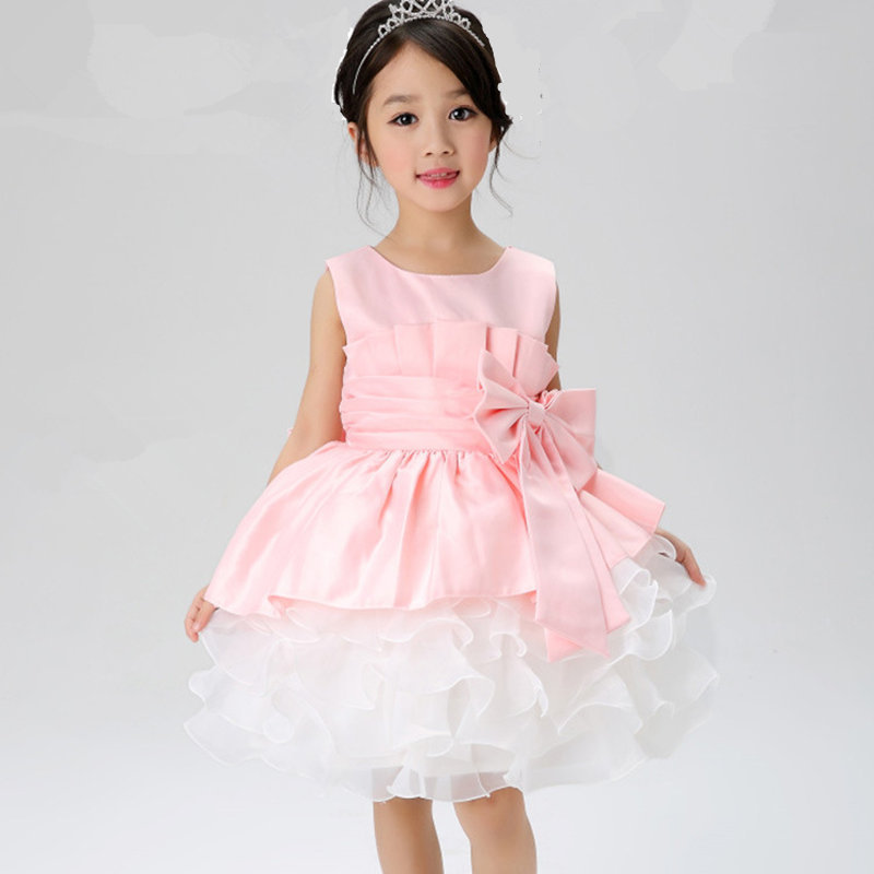 2015 New Girls tutu dress Christmas Kids Girl Dress Baby Girl Princess Clothing Infant Dress With Bow Girl Formal Party Dress(China (Mainland))
