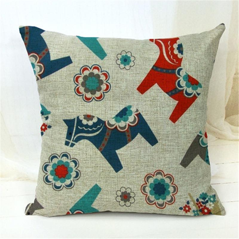Decorative Throw Pillows Case Cute Animals Birds Horse Cotton Linen Cushion Cover For Sofa Home Decor