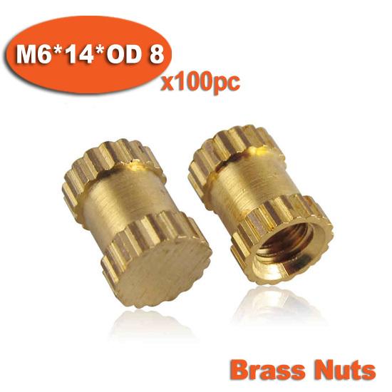 100pcs M6 x 14mm x OD 8mm  Injection Molding Brass Knurled Thread Inserts Nuts<br><br>Aliexpress