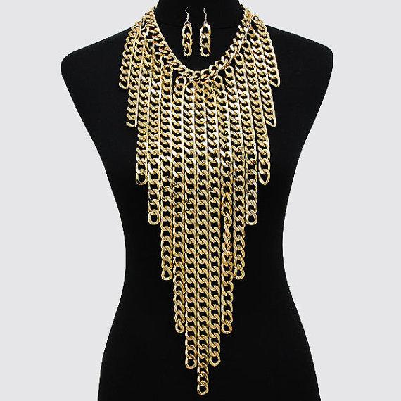 Fashion gold layered tassel chunky body chain delicate big necklace shouder belly beach bikini everyday jewelry - Stellar store