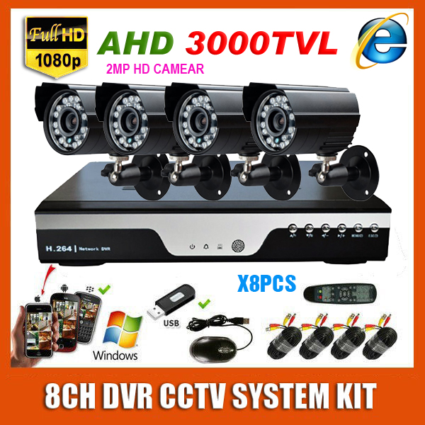 HD 8 Channel 2MP CCTV System 1920*1080P AHD 3000TVL Waterproof Mini Bullet Video Surveillance Home Security Camera System Kit(China (Mainland))