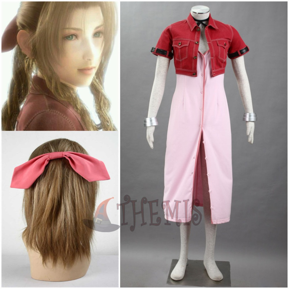 Athemis Anime Final Fantasy Aerith Red Suit Cosplay Costume Hair accessories Bracelet custom made size Одежда и ак�е��уары<br><br><br>Aliexpress