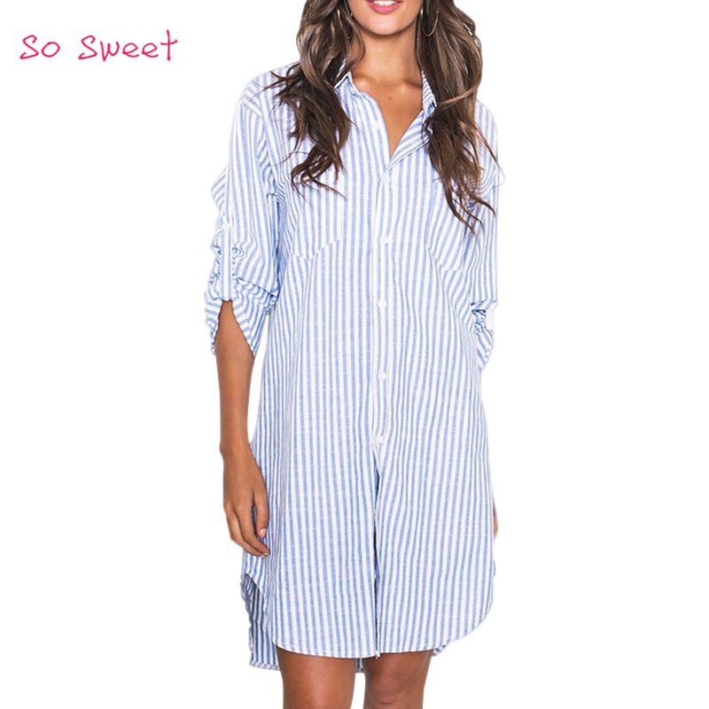 2015 Fashionable Blue And White Striped Maxi Shirts Women