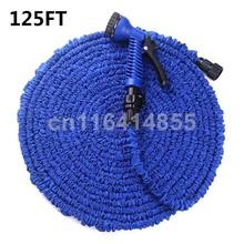 125FT Blue Garden Hoses Magic hose Stretched Working Lenght 37.5M tuyau arrosage Water Hose+7 set Spray Gun manguera extensible(China (Mainland))