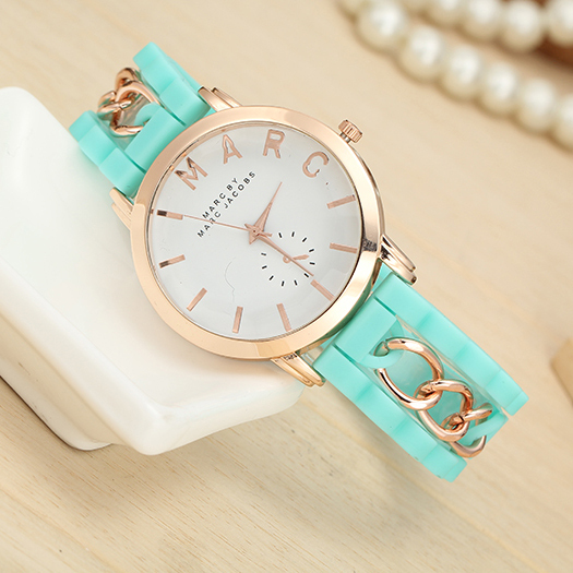 2015 new!14 color optional women's fashion quartz watches, high-end business circle silicone watch button,lady/girl gift watch(China (Mainland))